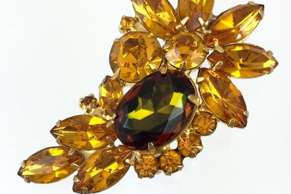 Juliana Golden Yellow Topaz, Volcano Rhinestone Brooch