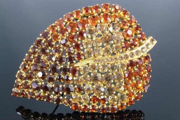 Austrian Orange Brown Rhinestone Leaf Brooch - Vintage 1960s