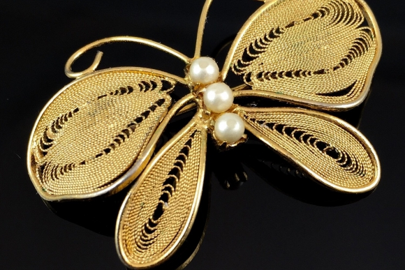 Butterfly Brooch with Golden Wire Filigree Wings