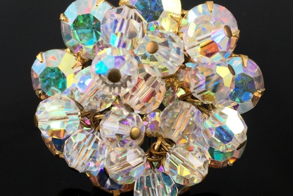 Juliana AB Crystal Bead Rhinestone Cluster Brooch