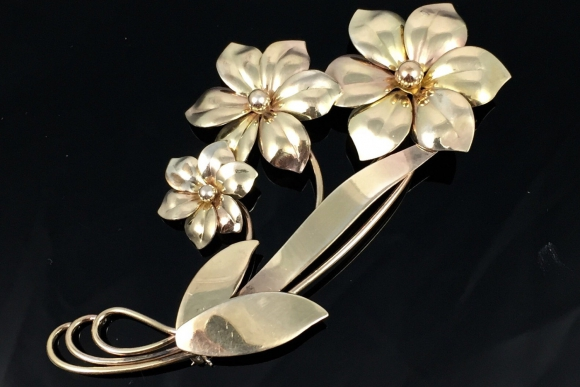 Harry S. Bick & Sons Gold Filled Floral Spray Corsage Brooch