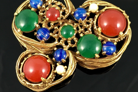 Jeanne Abstract Multi Stone Brooch - Vintage 60s Brutalist