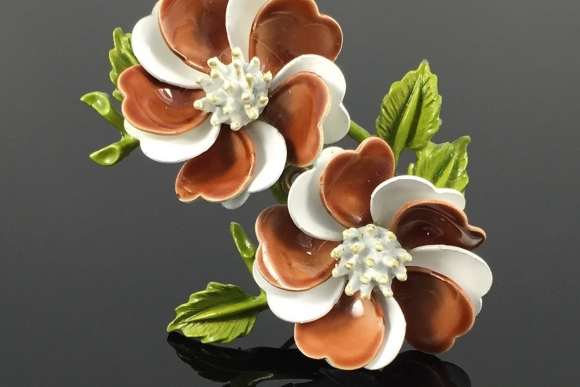 Vintage Brown & White Enamel Double Flower Brooch - 1960s