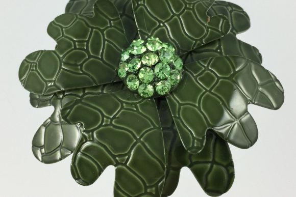 Green Enamel Rhinestone Flower Brooch - Vintage Sixties