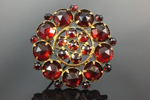 Rosette Brooch with Garnet Cabochon Silver Gold Plated Bohemia around 1860