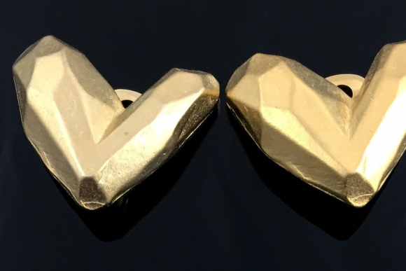 Gold Heart Earrings - Vintage Eighties Haute Couture Look