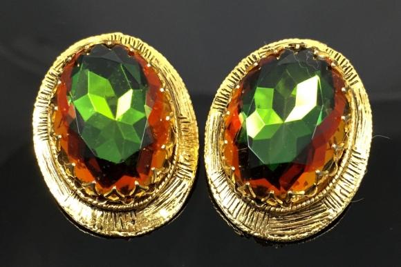 Vitrail Oval Gold Earrings - Vintage 60s Large Green, Reddish Orange