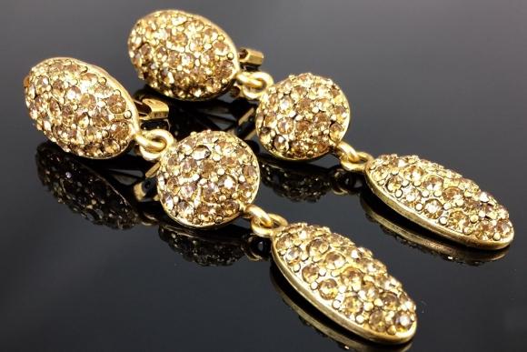 Bijoux New York Designs Topaz Rhinestone Dangle Earrings - Vintage