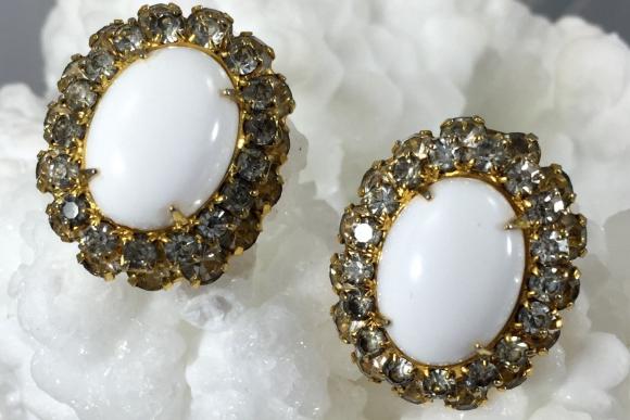 Early Kenneth Lane Earrings - Vintage 60s Designer KJL Gold Milk Glass