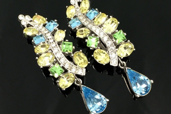 Joan Rivers Ice Blue, Yellow, Green Rhinestone Dangle Earrings