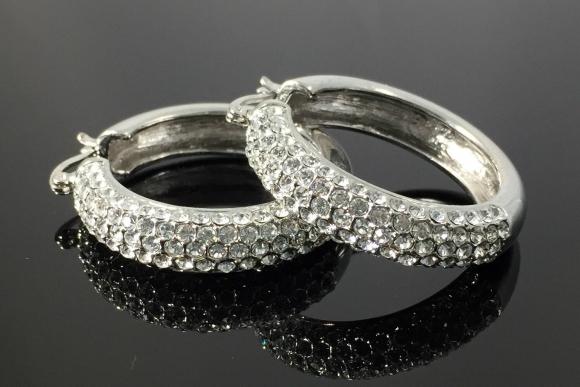 Large Silver Rhinestone Hoop Earrings - Pierced Wide Hoop