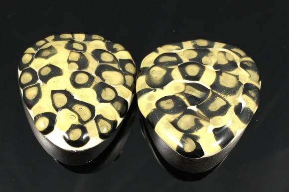 Leopard Print Enamel Earrings - Vintage 80s