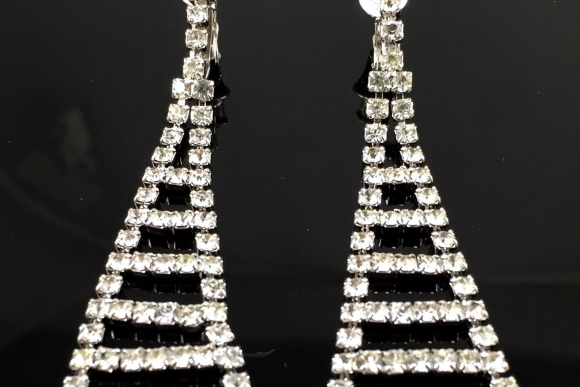 Art Deco Long Crystal Rhinestone Clip On Earrings - Vintage 60s