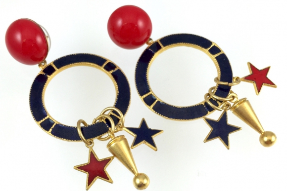 Star Charm Dangle Earrings - Vintage Enamel Pierced Blue Red Gold