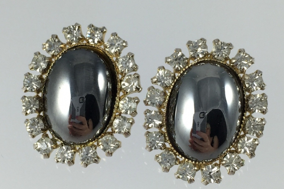 Vintage Hematite Rhinestone Earrings - 1960s Classic Oval Clip Ons