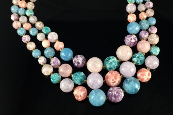 "Pastel Marbled Lucite Bead Necklace - Vintage Sixties Signed Japan Triple Strand Necklace, 16.5"" Long"
