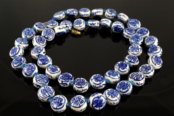 "Chinese Export Blue Porcelain Shou ""Long Life"" Bead Necklace"