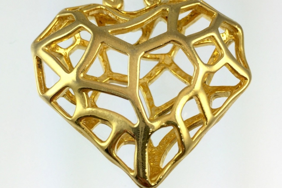 Large Gold Open Work Heart Abstract Modernist Pendant Necklace