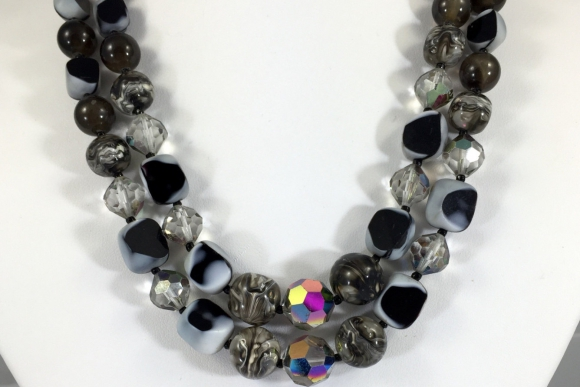 Fabiola Art Glass Double Strand Bead Necklace - Vintage Early 60s