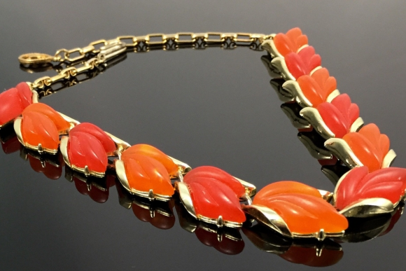 Pakula Orange & Reddish Orange Frosted Lucite Leaf Necklace