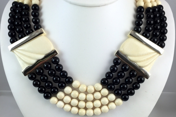Patricia Von Musulin Black Onyx and Ivory Colored Bead Necklace