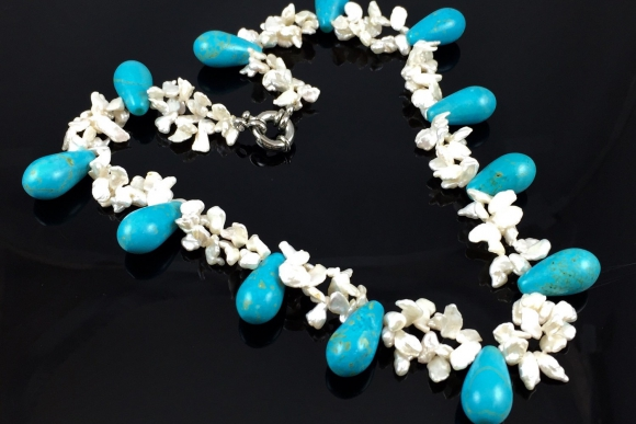 """Vintage Turquoise & Fresh Water Pearl, Keshi Pearl Necklace 18"""""""