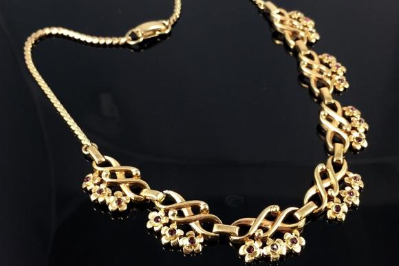 Lustern Gold Amethyst Rhinestone Choker Necklace - Vintage 1940s