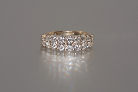 18K White Gold Double Row Diamond Band