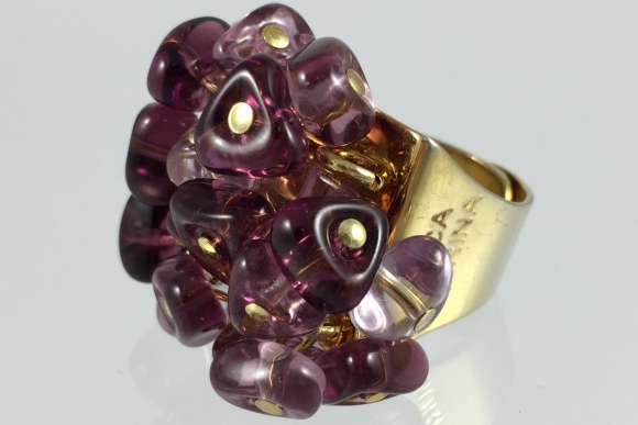 Vintage Antica Murrina Amethyst Murano Glass Drops Ring, Size 6.5