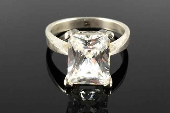 CZ Radiant Cut Sterling Silver Engagement Ring - 3.5CT - Size 5.75