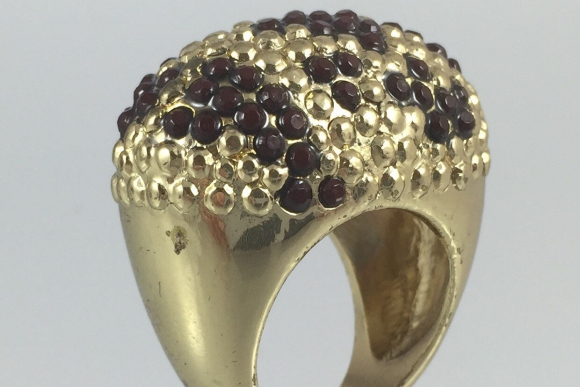 Vintage Leopard Statement Ring - Gold Plated Hobnail - Size 6.75