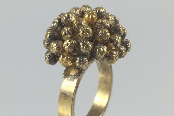 Vintage Flora Danica Eggert Sterling Silver Vermeil Ring - Size 6