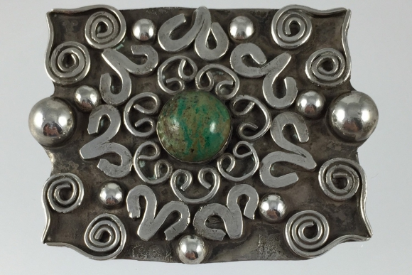 Old Taxco Silver Turquoise Brooch - Vintage 1930s Mexico - C Clasp