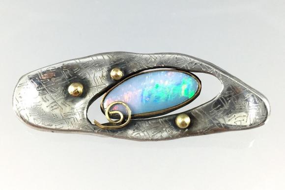 Natural Opal Sterling Silver & Gold Bead Studio Artisan Brooch