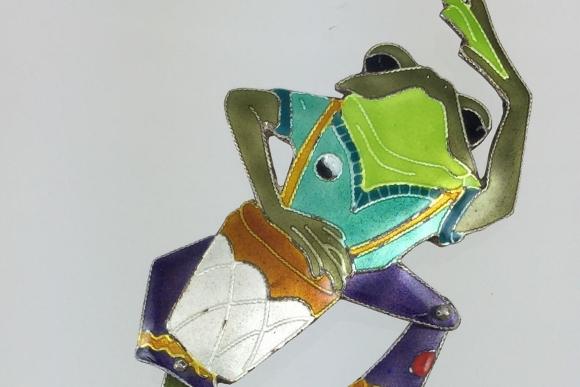 Vintage Sterling Enamel Articulated Frog with Drum Brooch