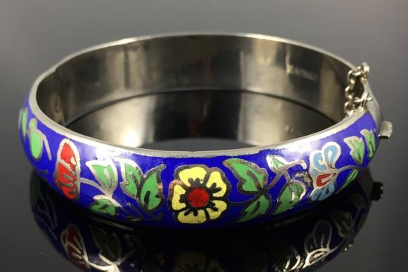 Sterling Silver Floral Enamel Bangle Bracelet - Vintage Sixties