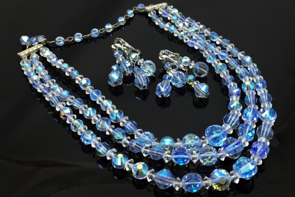 Triple Strand Blue AB Crystal Bead Necklace Earrings Set - Vintage