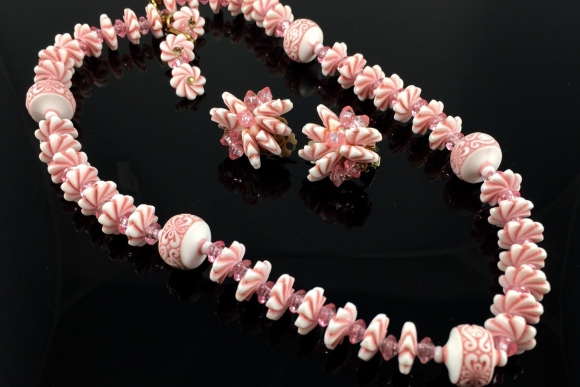 Pink Bead Necklace Earrings Set - Vintage 1950s Fancy Spiral