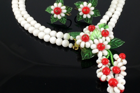Milk Glass Flower Necklace Earring Set - Vintage 1950s Signed Japan