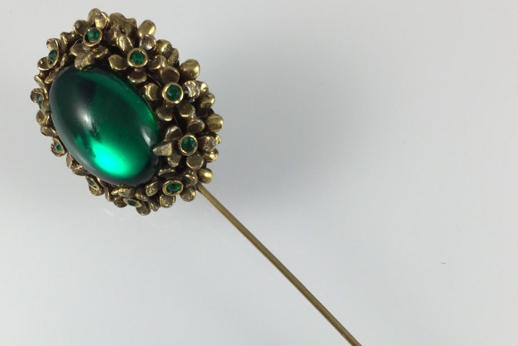 Vintage Green Jeweled Hat Pin - 1940s Green Glass Cabochons