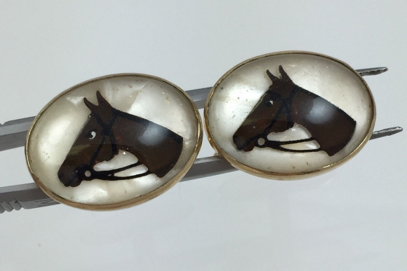 Reverse Painted Glass Horse Cufflinks - Vintage 50s Signed Krementz
