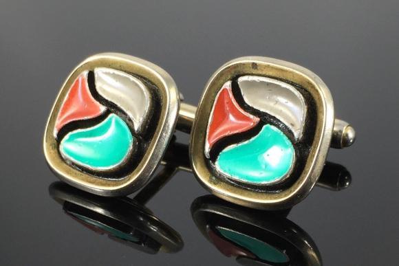 Anson Modenist Enamel Cuff Links - Vintage Sixties Tri Color Enamel