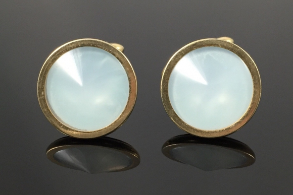Swank White Lucite Rivoli Stone Cufflinks - Vintage 60s White Opaline
