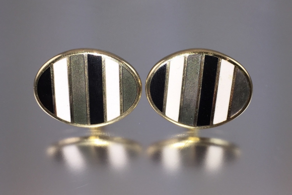 Classic Enamel Stripe Wedding Cuff Links - Vintage 1970s