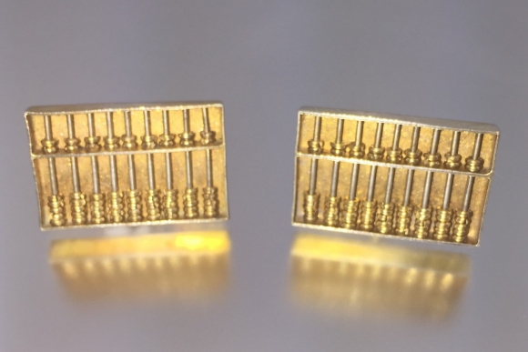 Sterling Silver Gilt Abacus Cuff Links - Vintage 1950s Hong Kong