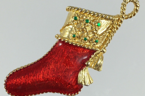 Gerrys Red Enamel Christmas Stocking Pin - Vintage Christmas