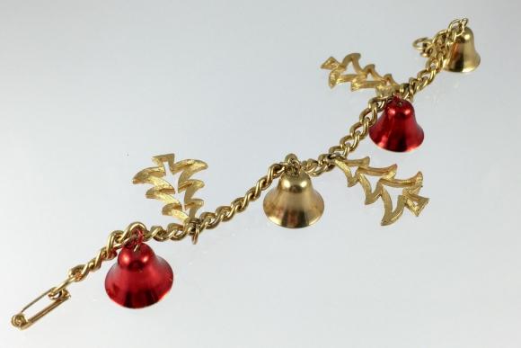 Mylu Christmas Bells & Tree Charm Bracelet - Vintage 1960s