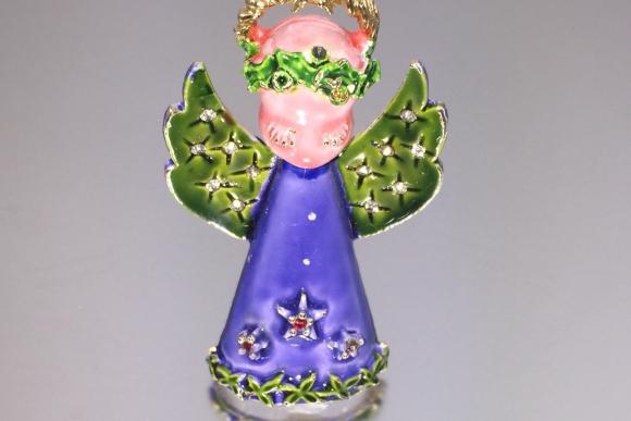 Enamel Christmas Angel Pin - Signed ART Vintage Angel Brooch