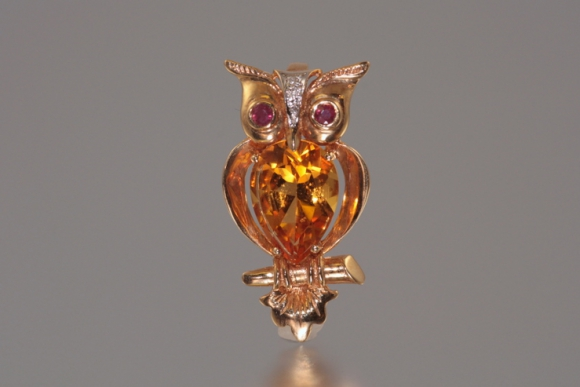14K Citrine Owl Pin