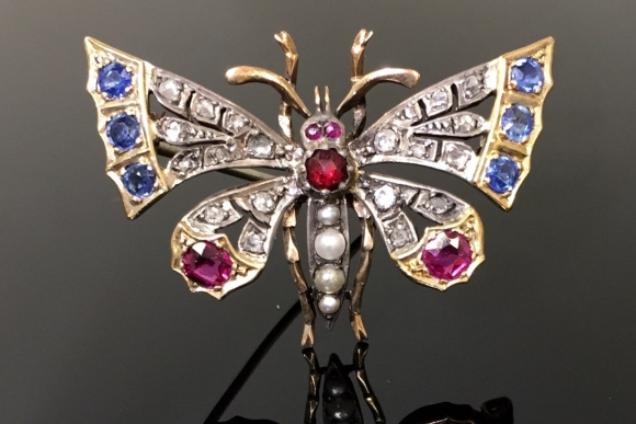 Vintage Antique Georgian Gemstone Butterfly Brooch - Circa 1820s